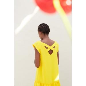 LOLITA jaune - Robe avec décolleté dans le dos