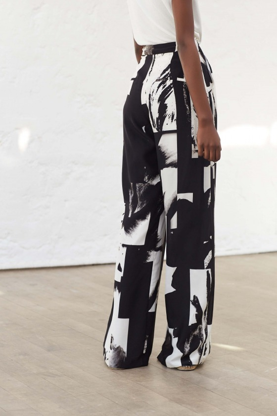 GOSPEL - Pantalon large taille haute en soie