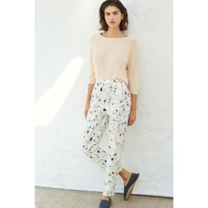 LAMBADA yellow - High-waisted printed 7/8 trousers