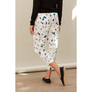 LAMBADA blue - High-waisted printed 7/8 trousers
