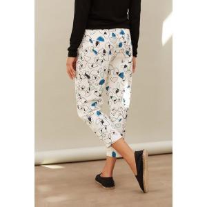 LAMBADA bleu - Pantalon 7/8 taille haute imprimé