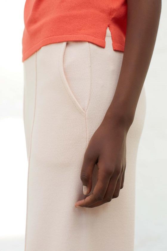 URANI beige - Pantalon taille haute en maille milano