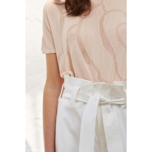 YOTI - Pantalon large avec ceinture en coton