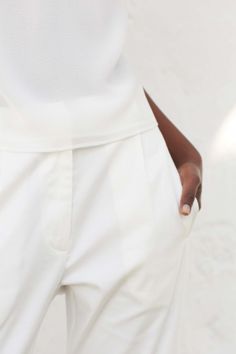 GUAPA blanc - Pantalon en satin de coton