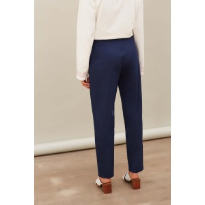 GUAPA bleu - Pantalon en satin de coton