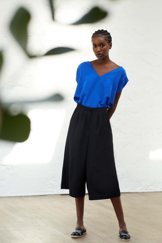 LARY noir - Pantalon façon jupe culotte