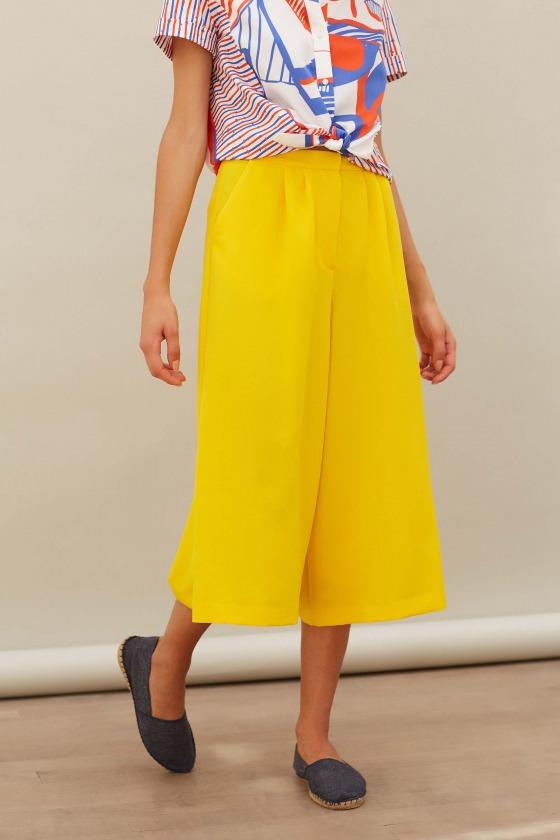 LARY jaune - Pantalon façon jupe culotte