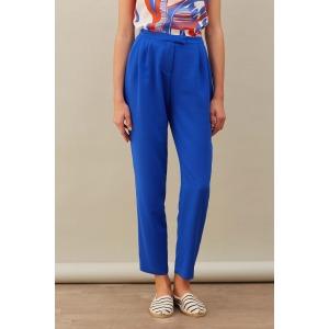 LOOPS bleu - Pantalon fluide taille haute