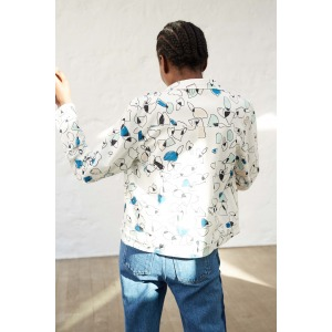 LENER blue - Denim style printed jacket