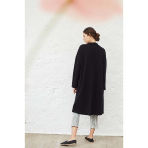 ULTIMO noir - Manteau long en maille milano