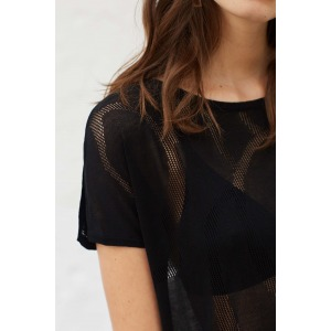 TELL - Pull manches courtes en maille fine