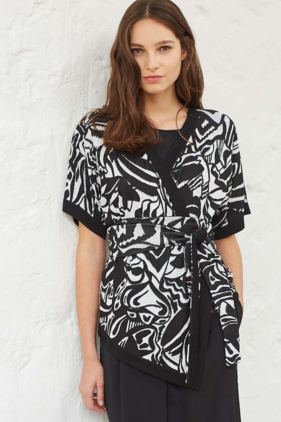 ENGIE noir - Veste Kimono à motif ultra-doux