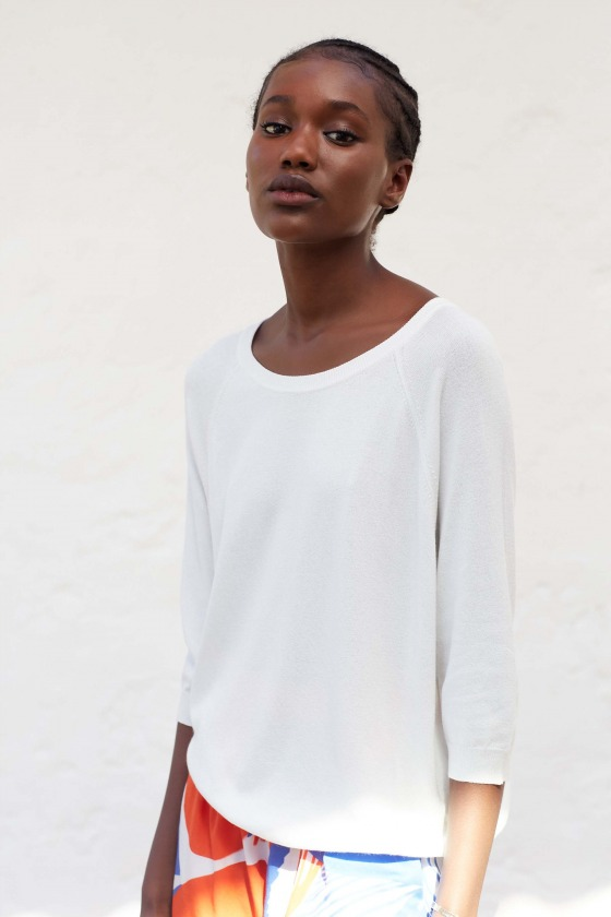 LIO blanc- Pull col rond